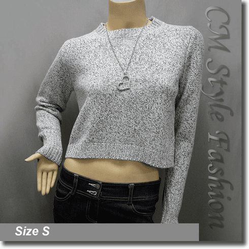Lace Up Boxy Cropped Sweater Blouse Knit Top Gray