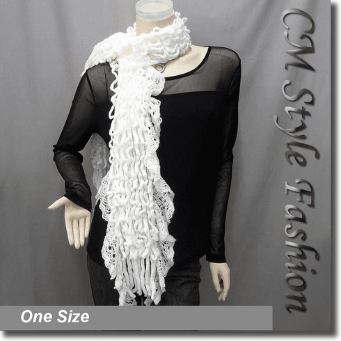 Lacy Curlicue Ruffle Fluffy Scarf White