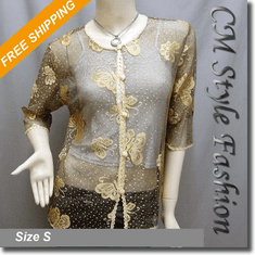 Lacy Sheer Cardigan Blouse Top w/ Golden Butterfly Pattern Black