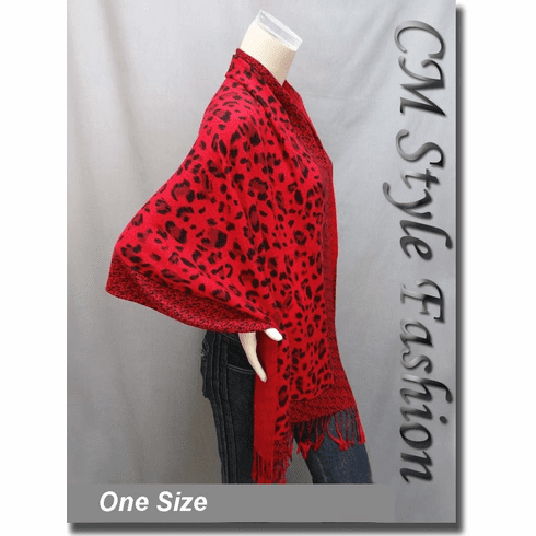 Leopard Animal Print Scarf Shawl Wrap Red