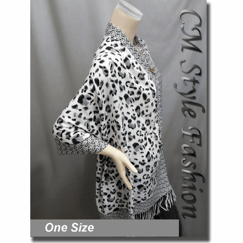 Leopard Animal Print Scarf Shawl Wrap White Black Gray