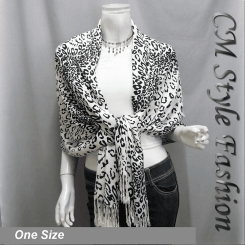 Leopard Animal Print Stole Scarf Shawl Wrap Black White