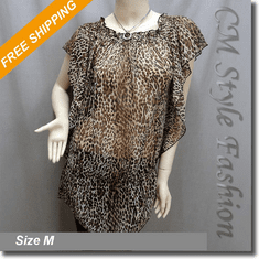 Leopard Prints Flowy Chiffon Tunic Top Brown