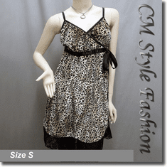 Leopard Velveteen Lace Trim Empire Babydoll Tunic Dress Brown