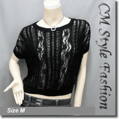 Loose Fit Lace Patch Knit Cropped Boho Top Black