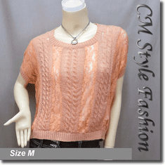 Loose Fit Lace Patch Knit Cropped Boho Top Pink