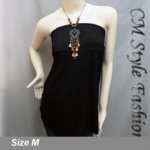 Low Cut Necklace Halter Top Black