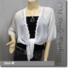 Mesh Sheer Front Tie Shrug Crop Bolero Cardigan Topper White
