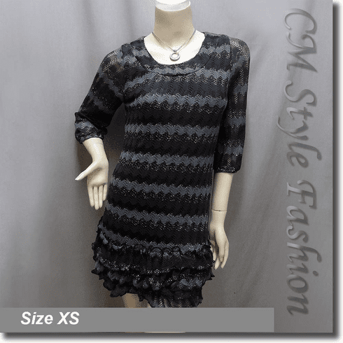 Metallic Thread Zig Zag Ruffled Tunic Dress Top Black Gray
