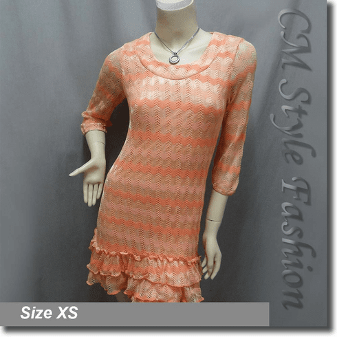 Metallic Thread Zig Zag Ruffled Tunic Dress Top Orange