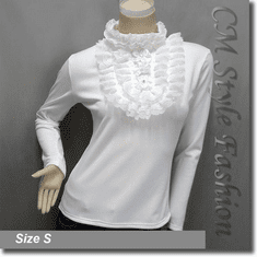 Mock Neck Lace Trim Ruffled Applique Beaded Blouse Top Off White