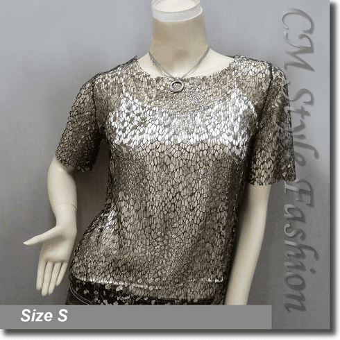 Net Mesh Pullover and Golden Camisole Top Set Black Golden