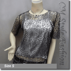 Net Mesh Pullover and Silver Camisole Top Set Black Silver