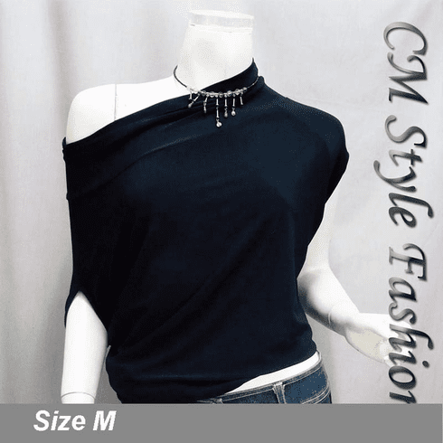 Off / One Shoulder Cowl Ruch Blouse Black