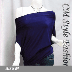 Off / One Shoulder Cowl Ruch Blouse Purple