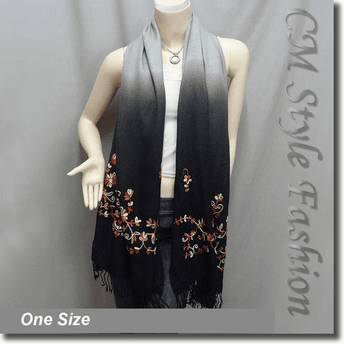 Ombre Fringe Floral Embroidery Scarf Drape Shawl Black Gray