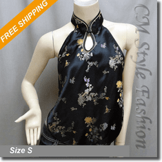 Oriental Chinese Style Embroidered Vest Top Black