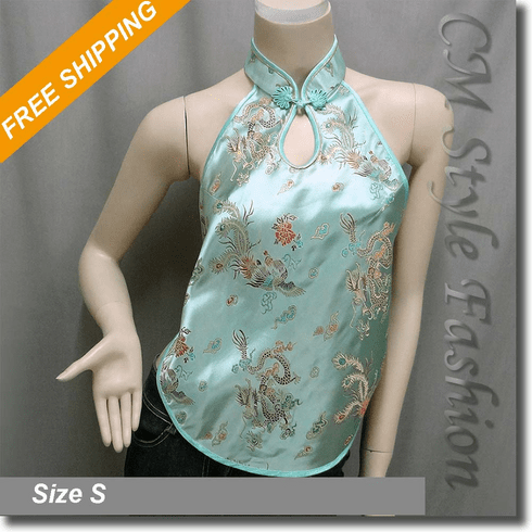 Oriental Chinese Style Embroidered Vest Top Green