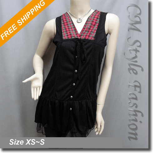 Patchwork Checked Lace Flared Tank Top Black