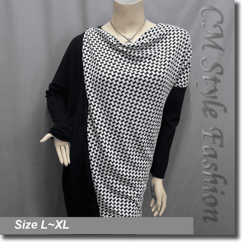Patchwork Houndstooth Drapy Tunic Smock Top Black