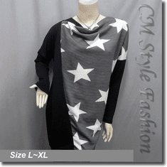 Patchwork Star Pattern Drapy Tunic Smock Top Black