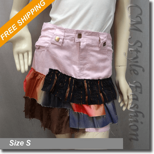 Patchwork Tiers Ruffled Mini Skirt Pink