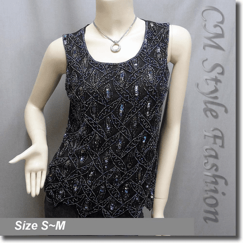 Peacock Sequin Beaded Embroidered Tank Blouse Top Black