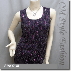 Peacock Sequin Beaded Embroidered Tank Blouse Top Purple