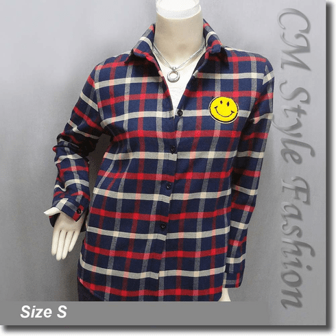 Plaid Checked Gingham Smiley Face Shirt Top Red Blue Beige