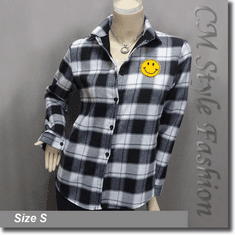 Plaid Checked Gingham Smiley Face Shirt Top White Gray Black