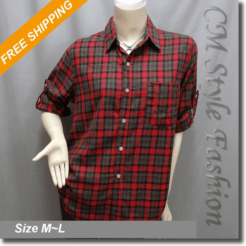 Plaid Tartan Checker Fashion Shirt Top Red Brown