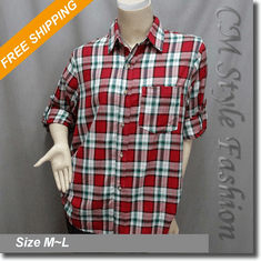 Plaid Tartan Checker Fashion Shirt Top Red Green