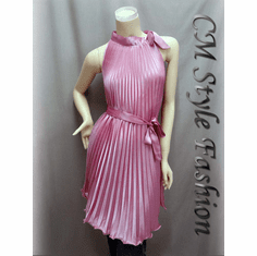 Pleat Cut Out Swing Satin Dress Pink