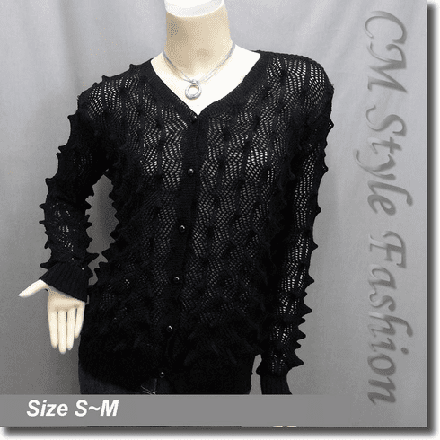 Pointed Bobbles Knit Sweater Cardigan Top Black
