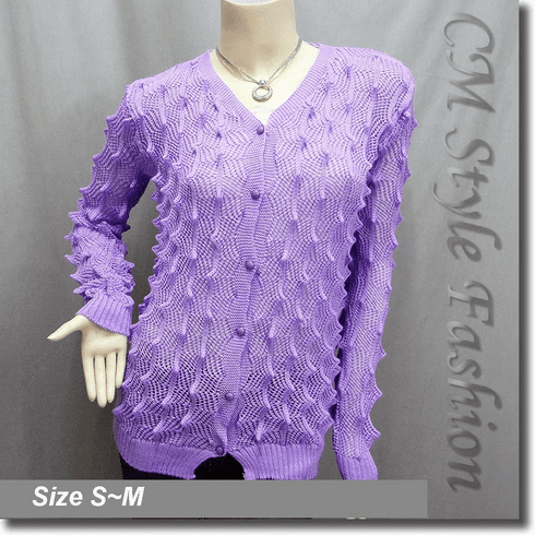 Pointed Bobbles Knit Sweater Cardigan Top Purple