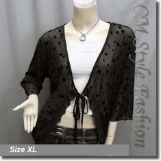 Polka Dots Lace Trimmed Front Tie Sheer Cardigan Top Brown