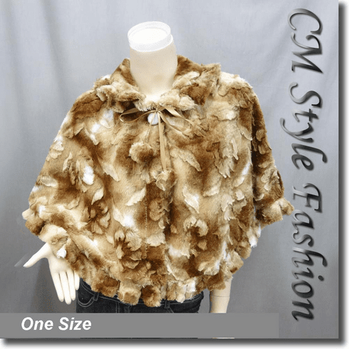 Pom Pom Faux Fur Cape Brown White