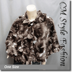 Pom Pom Faux Fur Cape Dark Brown White