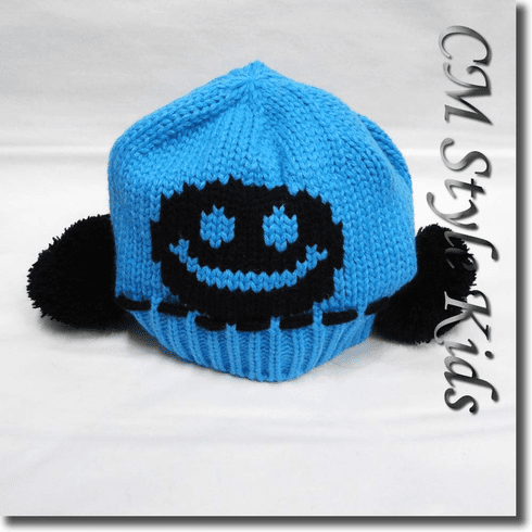 Pom Pom Knit Baby / Kids Hat Smiley Face Blue