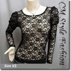 Princess Sleeves Floral Lace See Through Blouse Top Black