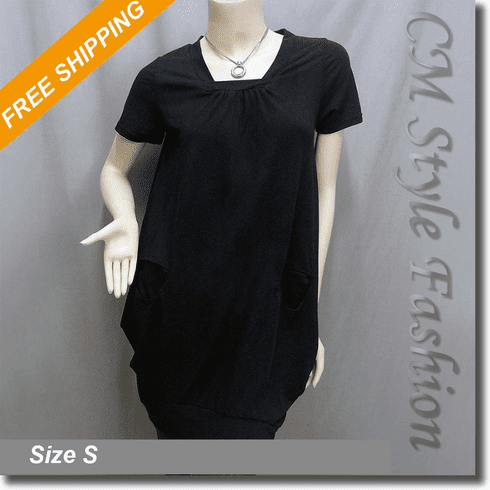 Puff Pocket Frock Tunic Dress Top Black