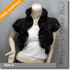 Puffy Ruffled Ruched Bolero Crop Shrug Top Black