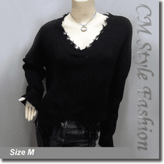 Ribbed Knit Grunge Shredded Boxy Sweater Pullover with Rips Top Black