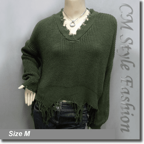 Ribbed Knit Grunge Shredded Boxy Sweater Pullover with Rips Top Green