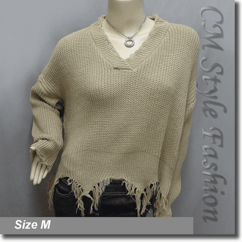 Ribbed Knit Grunge Shredded Boxy Sweater Pullover with Rips Top Khaki