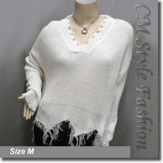 Ribbed Knit Grunge Shredded Boxy Sweater Pullover with Rips Top Off White