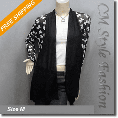 Ribbon Patterns Patchwork Chiffon Flowy Cardigan Top Black