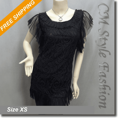Rippled Floral Lace Smock Tunic Top Black