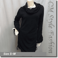 Rolled Fold Over Collar Drawstring Tie Ruch Frock Tunic Top Black