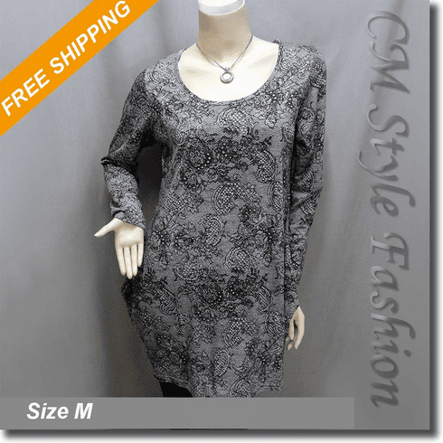Ruched Artistic Prints Tunic Blouse Top Gray